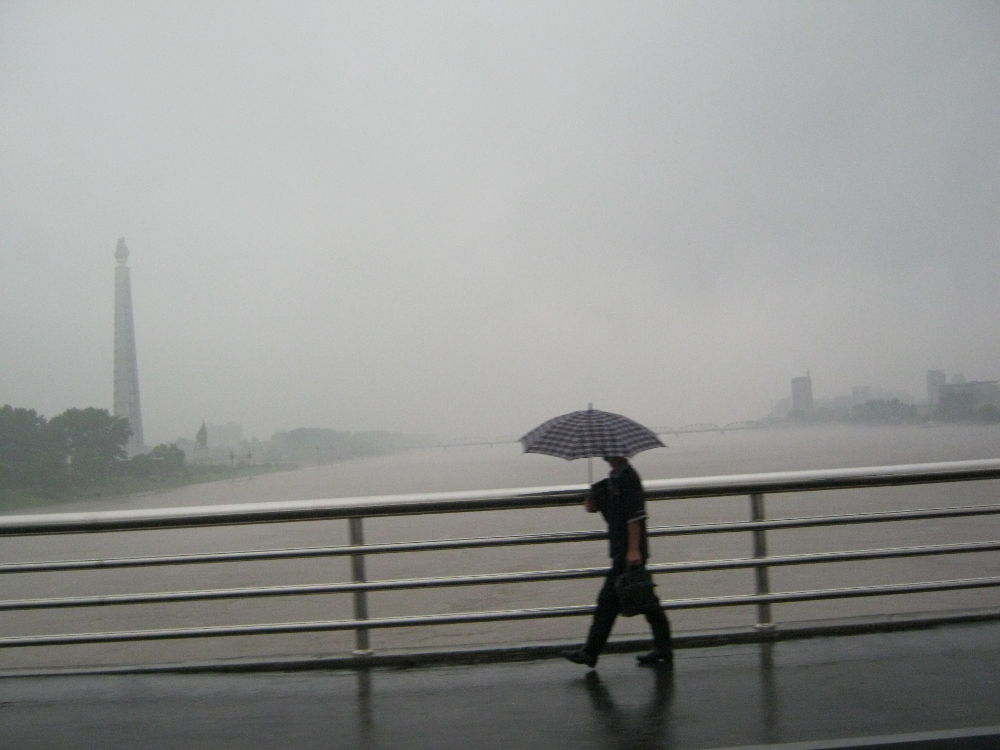 DPKR North Korea - Pyongyang - raining up the Taedong River