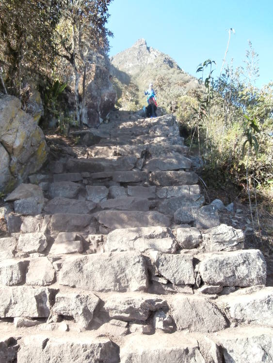 Peru - stairs to Machu Picchu Mountain