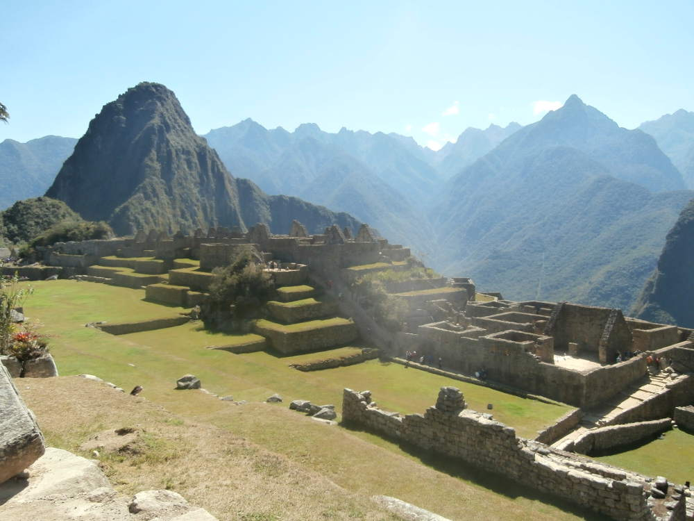 Peru - landscape of Machu Picchu Square and Huayna Picchu Mountain with Andes Mountain