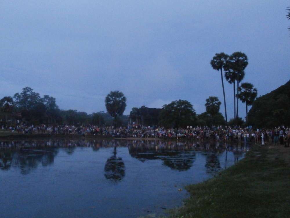 Cambodia - Angkor Wat - tourist are waiting sunrise