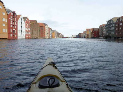 Norway - Trondheim - Kayaking on the river Nidelva