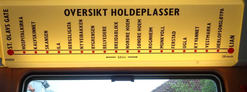 Noruega - Trondheim - Paradas del tranvía Grakallbanen