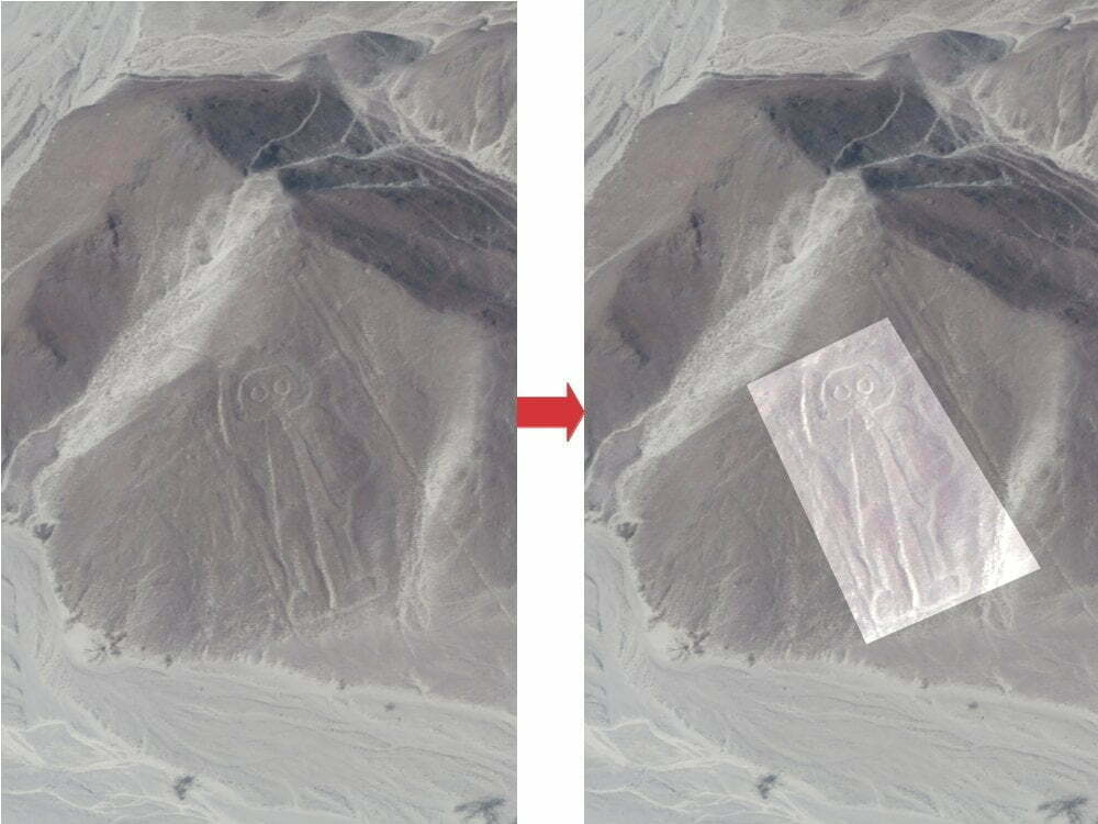 Peru - Nazca lines - astronaut zoom + highlighted image