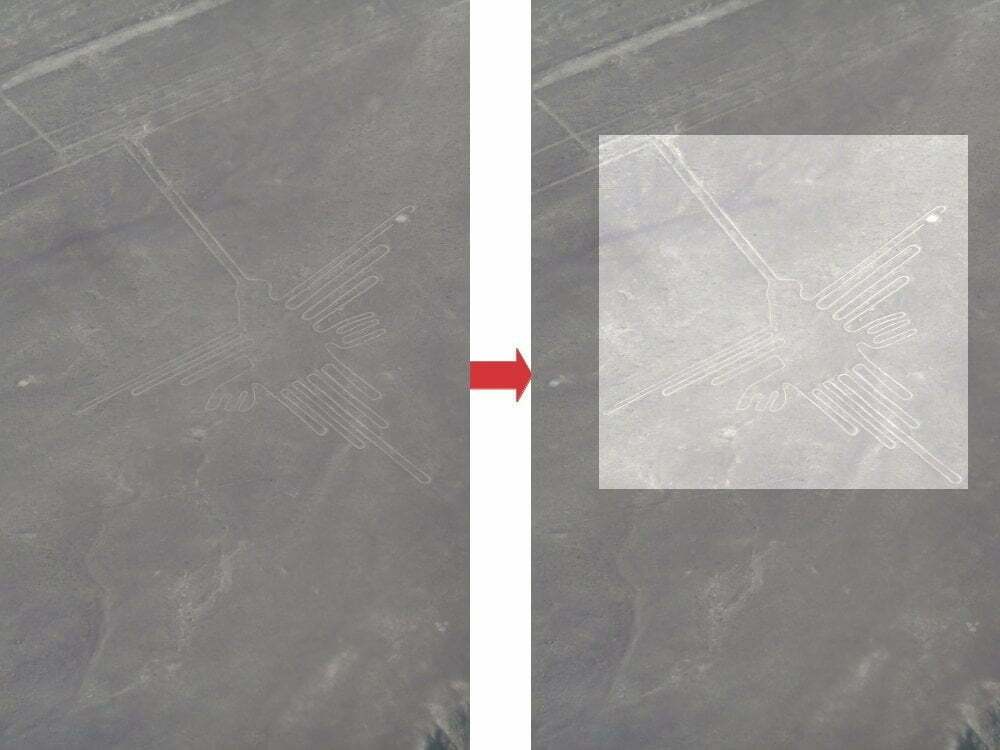 Peru - Nazca Lines - Humming Bird zoom + highlighted image
