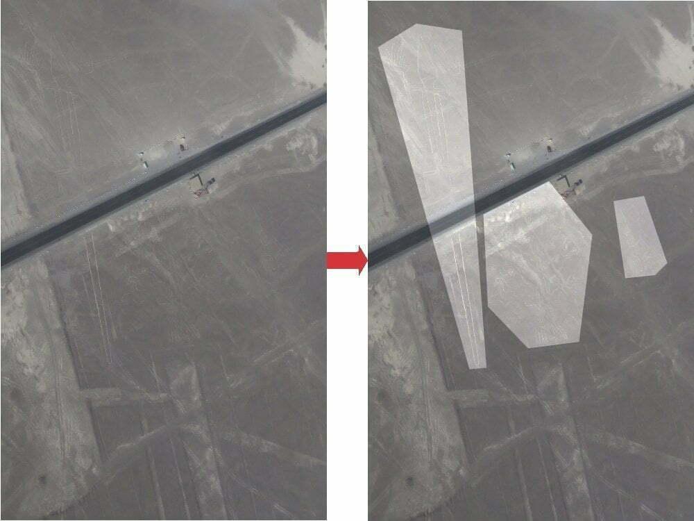 Peru - Linee di Nazca - zoom lucertola albero mani + immagine evidenziata