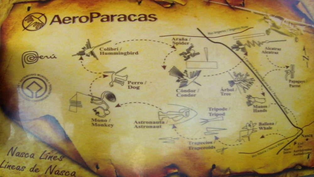Peru - Linee di Nazca - rotta dell'aereo sulle figure