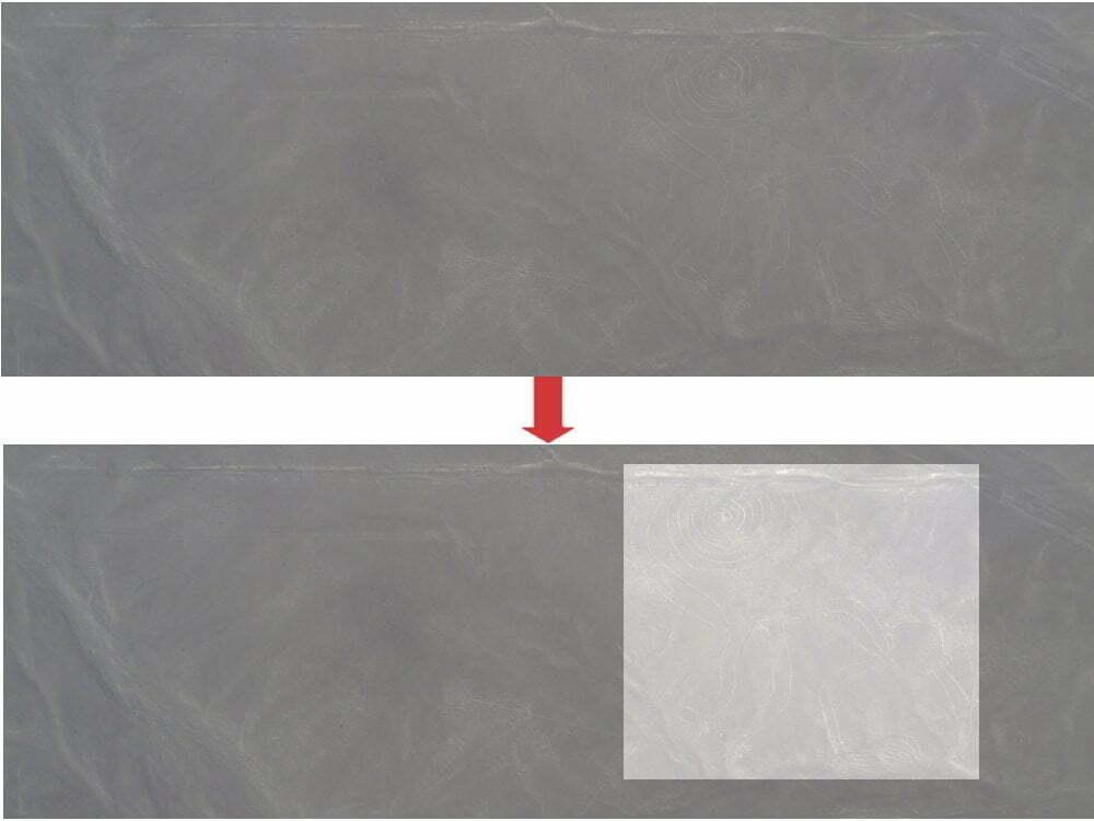 Peru - Linee di Nazca - zoom scimmia + area evidenziata