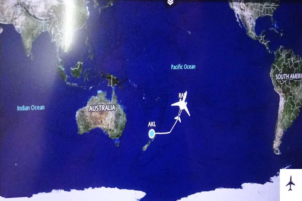 mappa volo Auckland Rarotonga